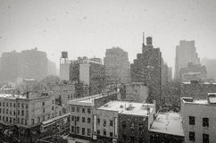 Snowing in New York City. Winter in New York. View of NYC during a snowfall. Black and White urban photography Stock Images