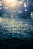 Snowing at Night and Backlight. For a Magical Effect Royalty Free Stock Images