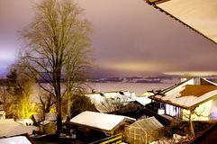Snowing night in the countryside in Germnay Royalty Free Stock Photography