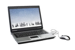 Snowing at notebook screen Stock Photos