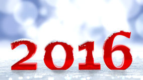 Snowing over the new year 2016 Stock Photo