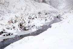 Snowing over a small river Royalty Free Stock Images