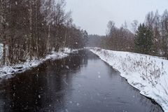 Snowing over water in a chanel in Sweden. Snowing over water in a chanel in Filipstad Sweden Royalty Free Stock Photo