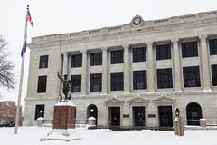 Snowing by Pettis County Courthouse in Sedalia. Sedalia, Missouri, USA stock photo