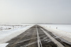 Snowing Road Royalty Free Stock Photography