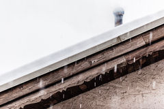 Snowing on the roof Royalty Free Stock Images