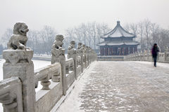 Snowing scene of the Summer Palace Stock Images