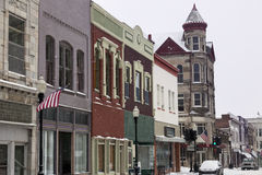 Snowing in Sedalia. Missouri - city street covered with snow stock image