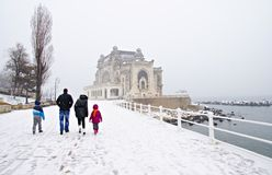 Snowing on the shore at the Black Sea Stock Photography