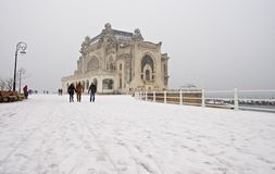 Snowing on the shore at the Black Sea Royalty Free Stock Photos