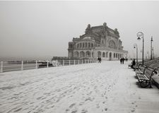 Snowing on the shore at the Black Sea Stock Images