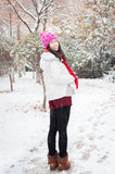 Snowing smile girl Stock Images