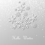 Snowing and snowflakes with shadow and text : Hello Winter, on light background. Vector illustration. Snowing and snowflakes with shadow and text : Hello Winter Royalty Free Stock Photography