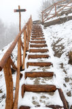 Snowing stairs Royalty Free Stock Photography