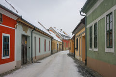 Snowing, street of Esztergom. Hungary Stock Image
