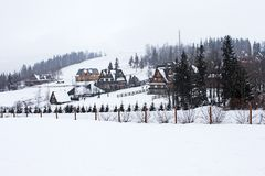 Snowing in Tatry mountains. stock photography