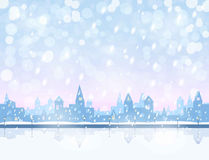 Snowing   town Royalty Free Stock Photo
