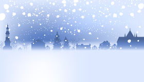 Snowing town Royalty Free Stock Images
