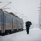Snowing on a train station Royalty Free Stock Photography
