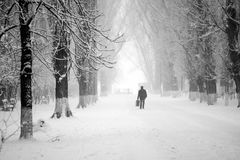 Snowing urban landscape with people Royalty Free Stock Photos