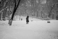 Snowing urban landscape with people Stock Photography
