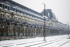 Snowing w Canfranc Huesca, Hiszpania Fotografia Royalty Free