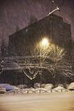 Snowing w nocy Zdjęcie Royalty Free