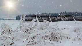 Snowing winter landscape with sun and snow barrier stock footage