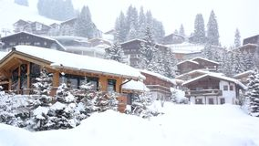 Snowing in the winter ski resort