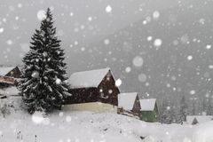 Snowing in winter. In the village royalty free stock photography