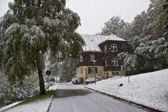 Snowing in winter. In the village Stock Photography
