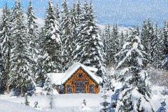 SNOWING zimy kabina Fotografia Royalty Free