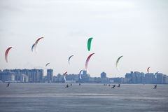 Snowkiting  on the frozen ice Royalty Free Stock Images