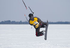 Snowkiting on  a frozen lake Royalty Free Stock Photos