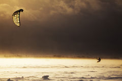 Snowkiting man struggling with snowstorm Royalty Free Stock Images