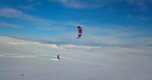 Snowkiting no norte vídeos de arquivo