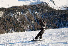 Snowkiting in St.Moritz. Flying over Engadina lake, Switzerland stock photo