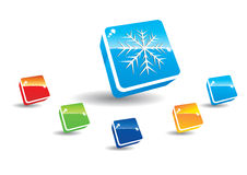 Snowlake button Royalty Free Stock Image