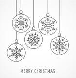 Snowlakes, geometric Christmas ornaments, background Royalty Free Stock Photo