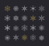 Snowlakes set, geometric Christmas pattern and background Stock Images