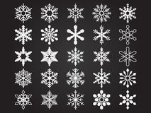 Snowlakes. Set of  25 vector snowlakes. File is in eps10 format Royalty Free Stock Photography