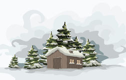 Snowly Wintertag. Lizenzfreies Stockfoto