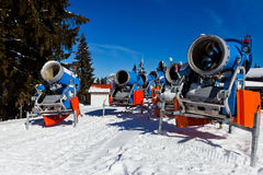 Snowmachine Germany Alps. Snowmachines on top Austrian Alps Stock Photography
