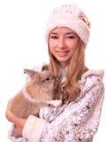Snowmaiden con el conejo Imagen de archivo libre de regalías