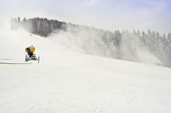 Snowmaker. Working snowmakers in the photo Stock Images