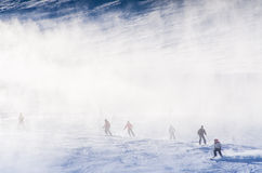 Snowmakers blowing fresh snow Stock Photography