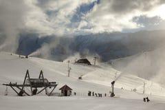 Snowmaking nella stagione in anticipo Immagini Stock Libere da Diritti