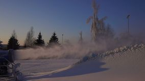 Snowmaking is the production of snow stock video