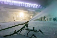 Snowmaking during snow storm atski resort Royalty Free Stock Photo
