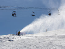 Snowmaking spraying snow Stock Image